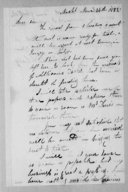 Patrick Henry Darby to Andrew Jackson, November 24, 1822