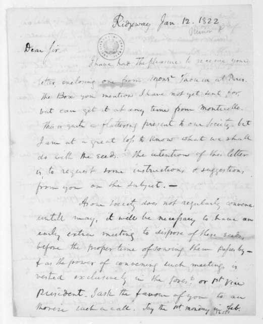 Peter Minor to James Madison, January 12, 1822.