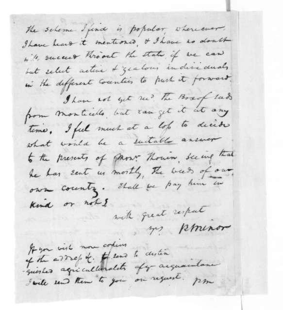 Peter Minor to James Madison, November 5, 1822.