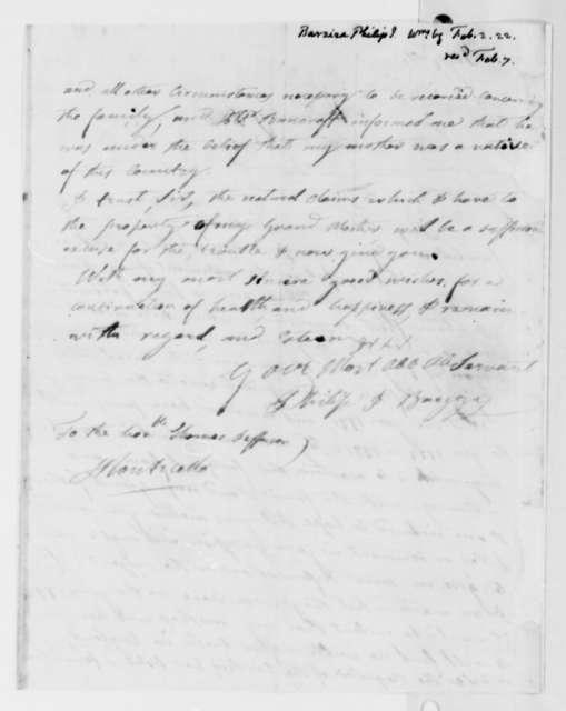Philip Ignatius Barziza to Thomas Jefferson, February 2, 1822
