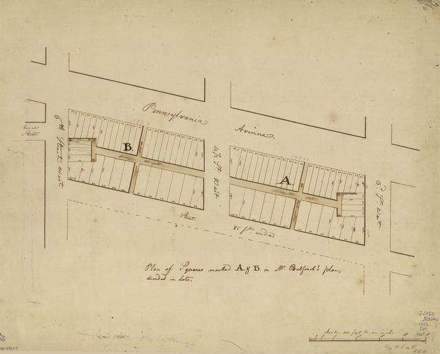 Plan of squares marked A. & B. in Mr. Bulfinch's plan, divided in lots : [now part of the Mall, N.W. Washington D.C.] /