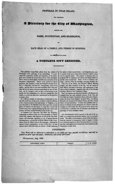 Proposals, by Judah Delano, for publishing a directory for the City of Washington, showing the name, occupation, and residence, of each head of a family, and person in business. To which will be added, a complete city register ... Washington, Ju