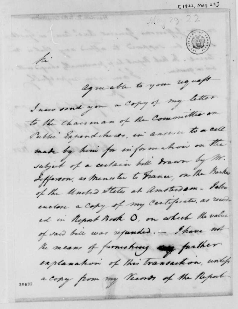 Richard Harrison to Joseph Anderson, May 29, 1822