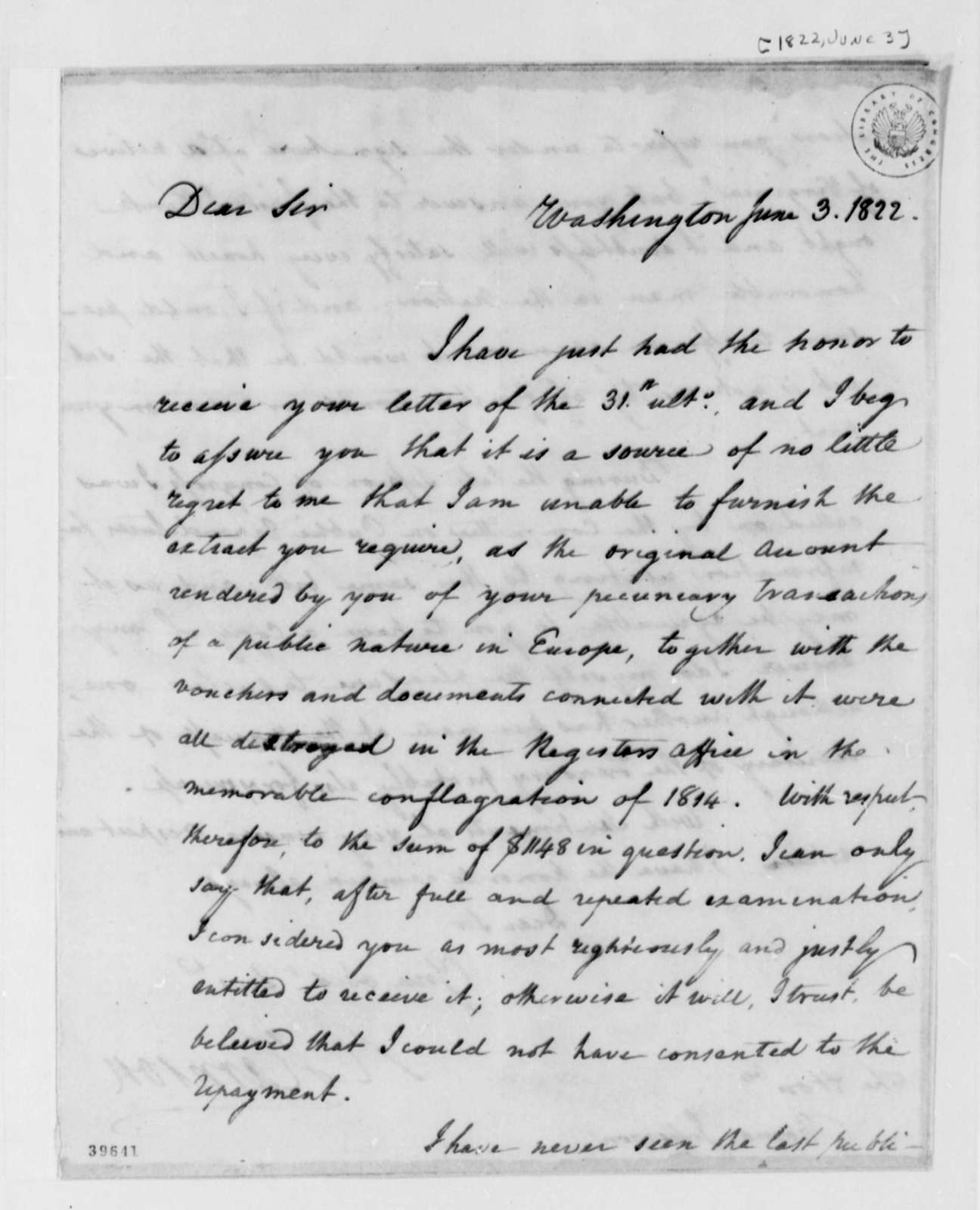 Richard Harrison to Thomas Jefferson, June 3, 1822