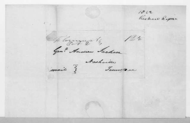 Richard Rapier to Andrew Jackson, October 1, 1822