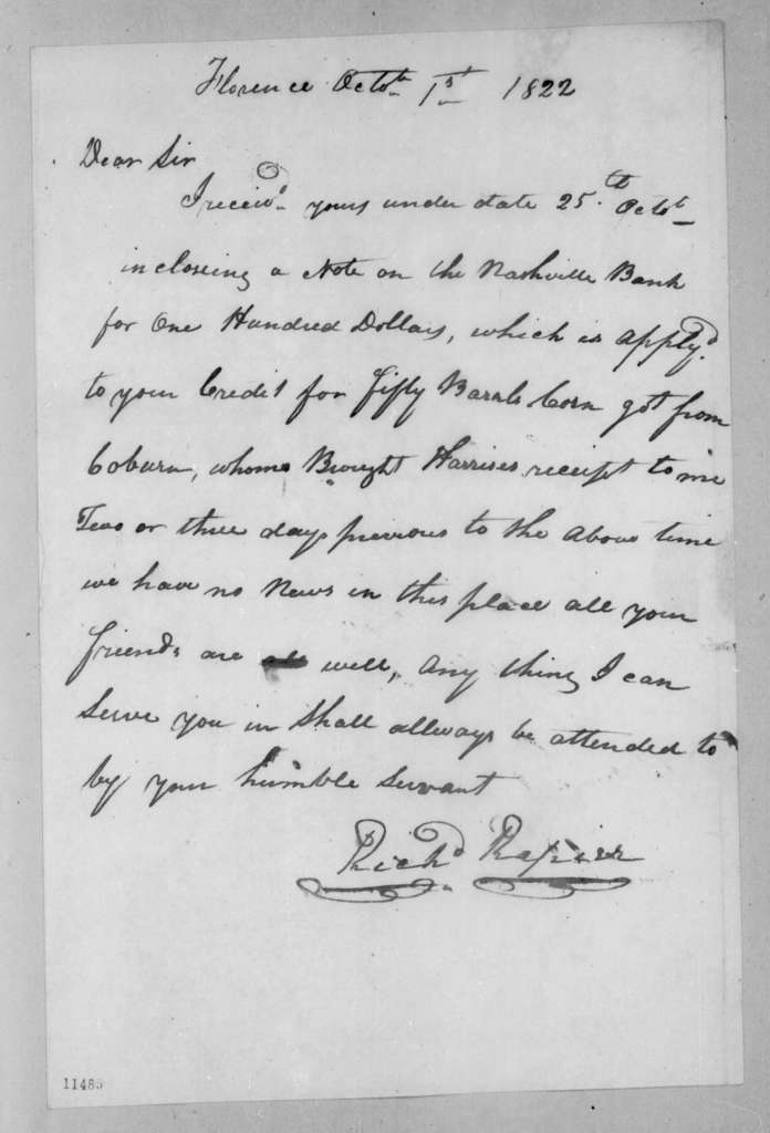 Richard Rapier to Andrew Jackson, October 1, 1822