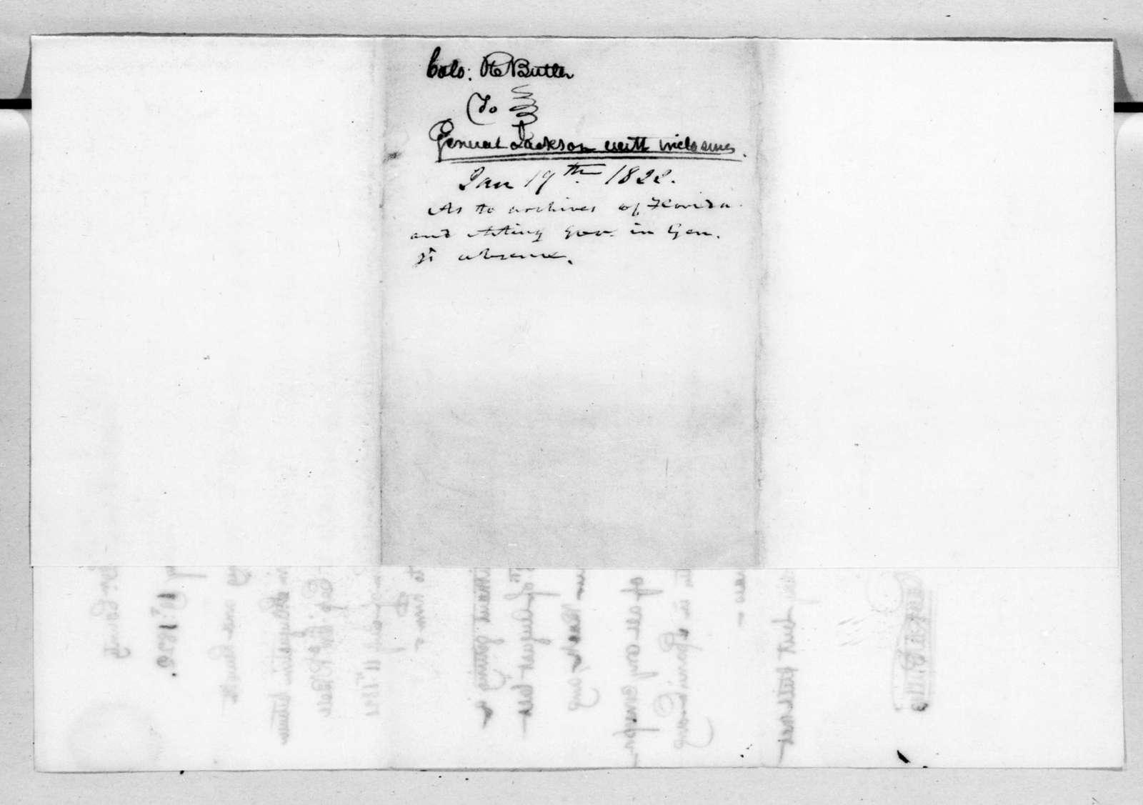 Robert Butler to Andrew Jackson, January 19, 1822