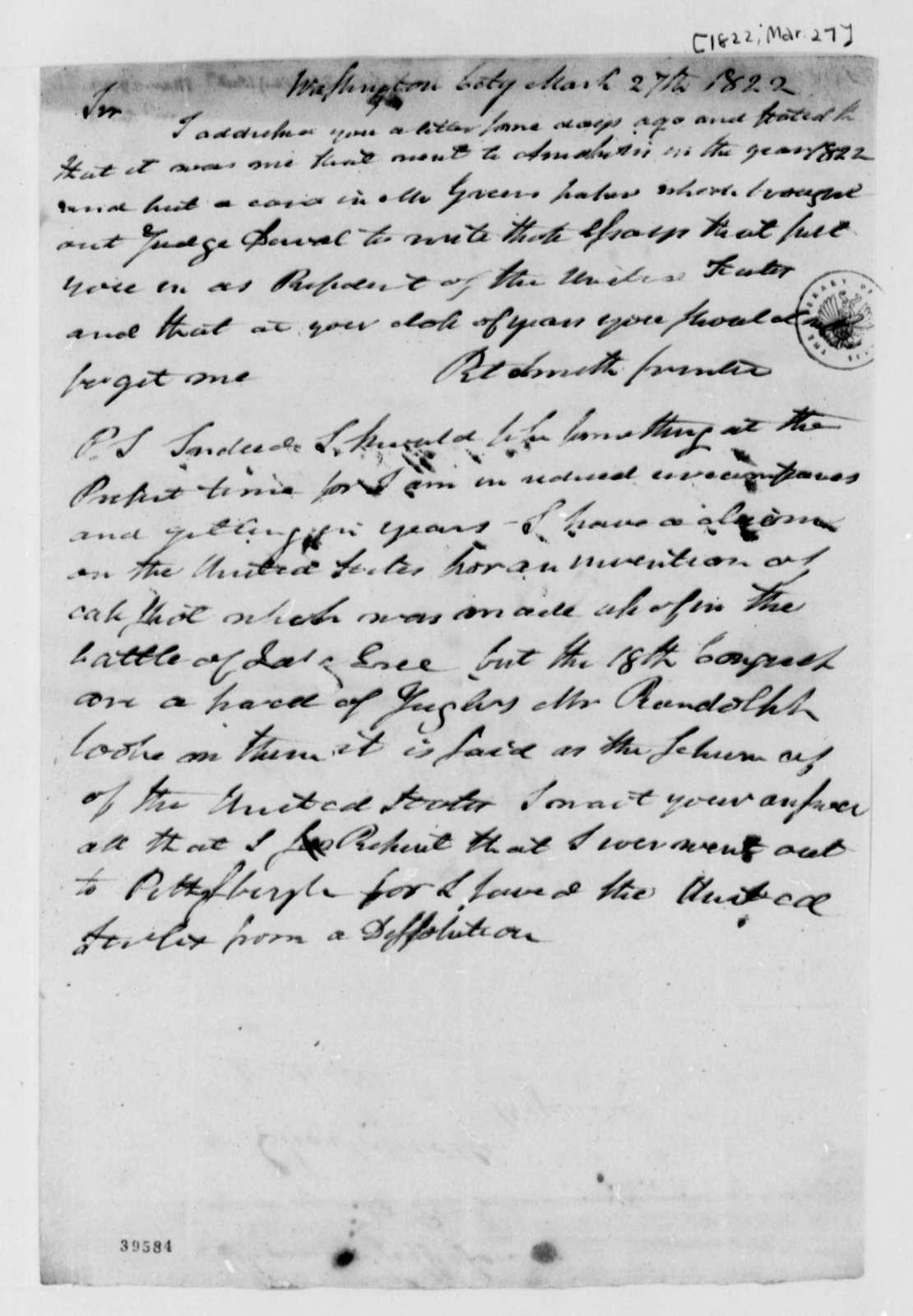 Robert Smith to Thomas Jefferson, March 27, 1822