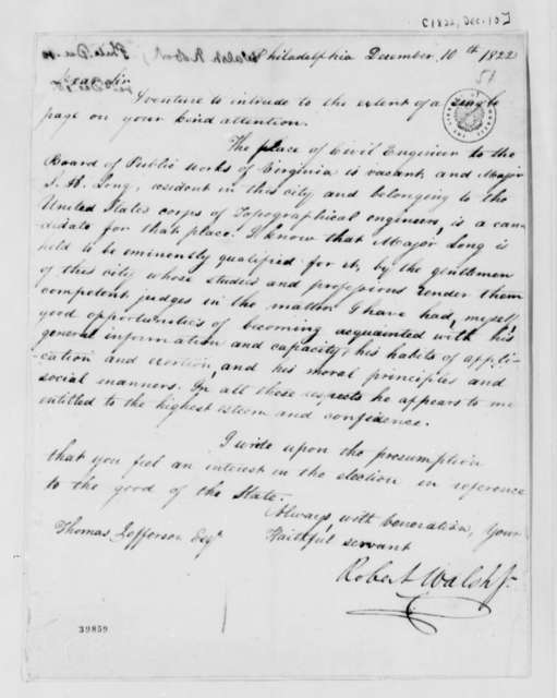Robert Walsh, Jr. to Thomas Jefferson, December 10, 1822
