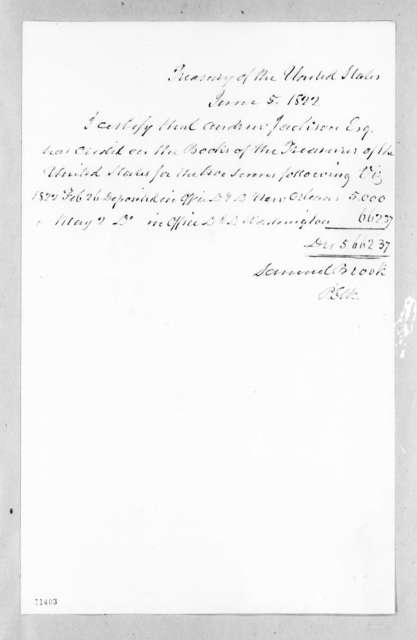 Samuel Brooks to Andrew Jackson, June 5, 1822