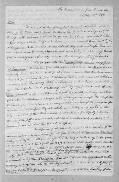 Samuel Ragland Overton to Andrew Jackson, October 15, 1822