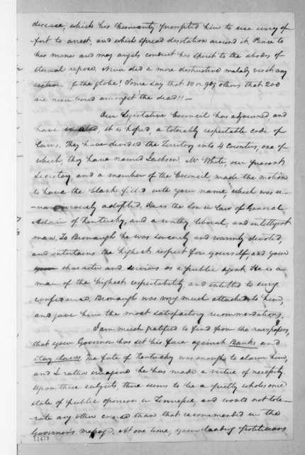 Samuel Ragland Overton to Andrew Jackson, September 22, 1822