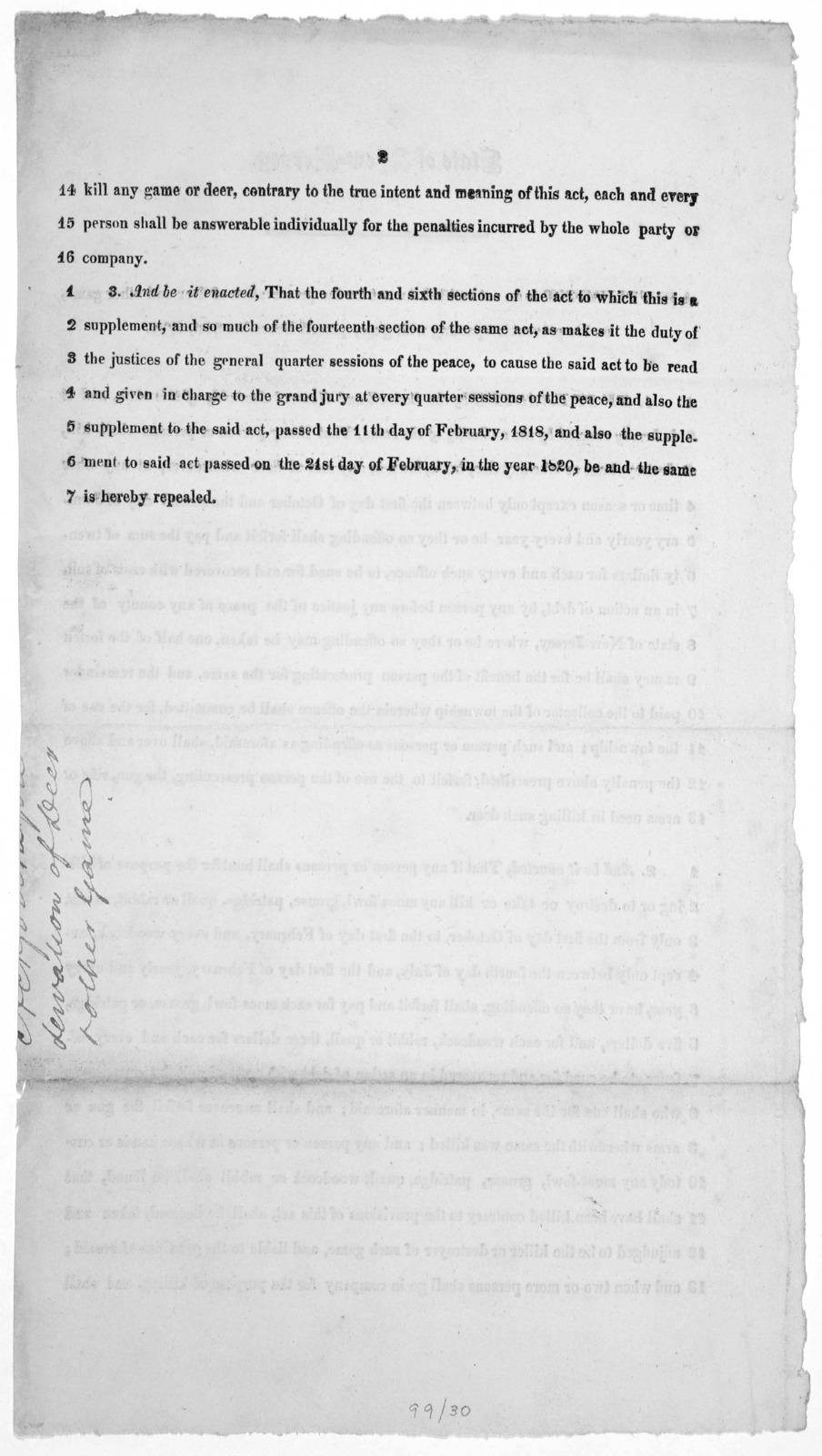 State of New Jersey. A supplement to an act entitled, An act for the preservation of deer and other game and to prevent trespassing with guns, passed December 21st, 1771 [1822?].