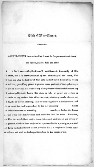 State of New Jersey. A supplement to an act entitled An act for the preservation of clams and oysters, passed June 9th, 1820. [1822?].