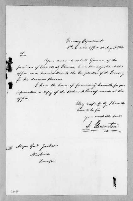 Stephen Pleasonton to Andrew Jackson, August 14, 1822
