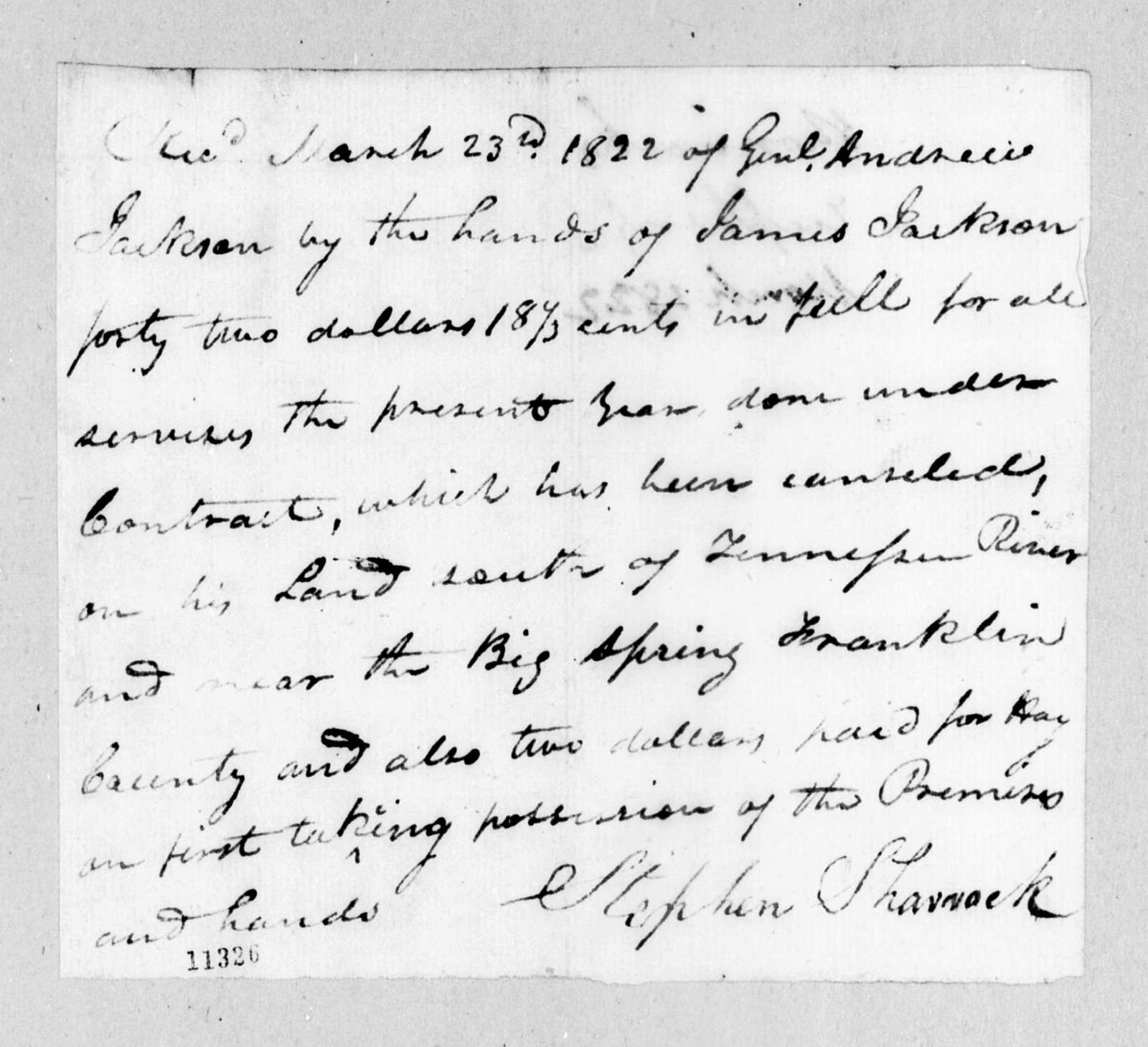Stephen Sharrock to Andrew Jackson, March 23, 1822