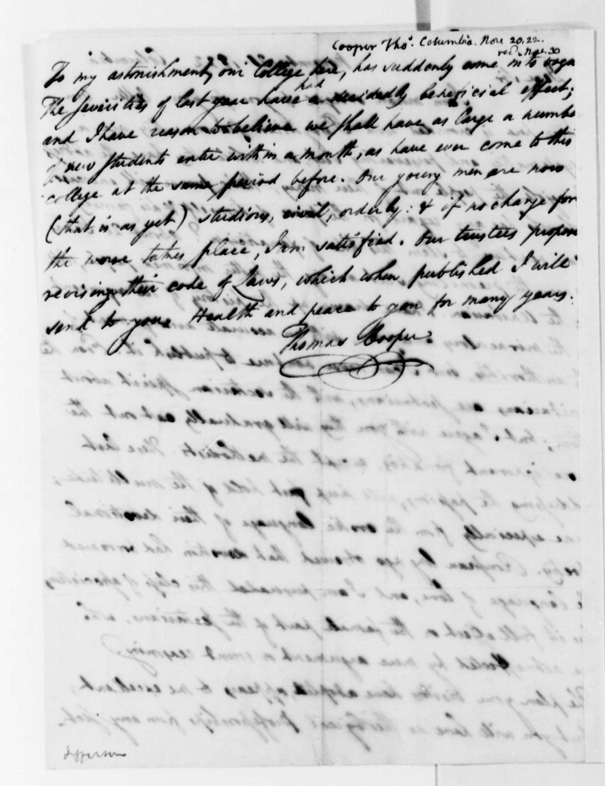 Thomas Cooper to Thomas Jefferson, November 20, 1822