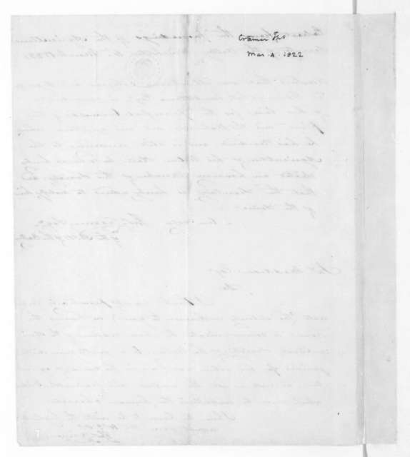 Thomas Cramer to James Madison, March 4, 1822. Extract from the proceedings of the Agricultural Society of the Valley.