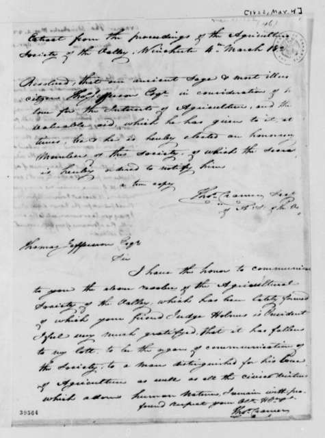 Thomas Cramer to Thomas Jefferson, March 4, 1822