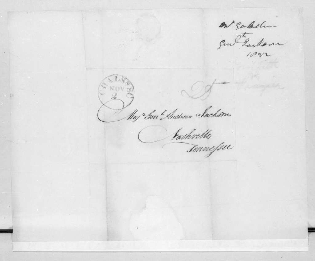 Thomas Gadsden to Andrew Jackson, October 29, 1822