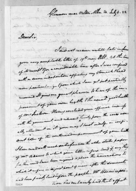 Thomas Gassaway Watkins to Andrew Jackson, July 6, 1822