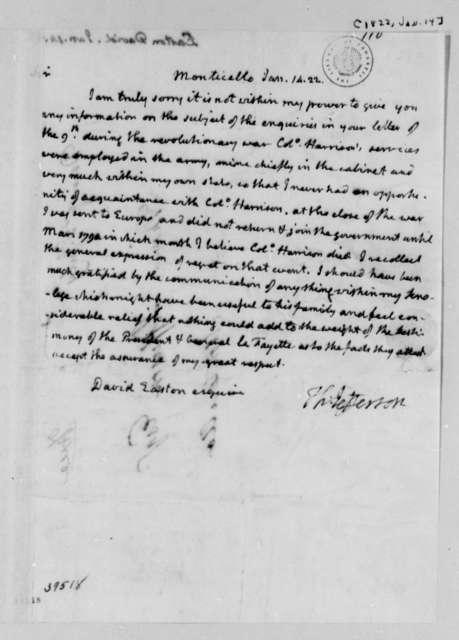 Thomas Jefferson to David Easton, January 14, 1822