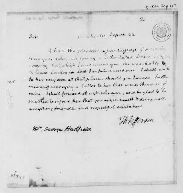 Thomas Jefferson to George Hadfield, September 10, 1822