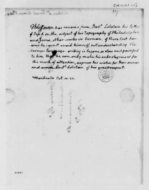 Thomas Jefferson to J. F. Daniel Lobstein, October 10, 1822