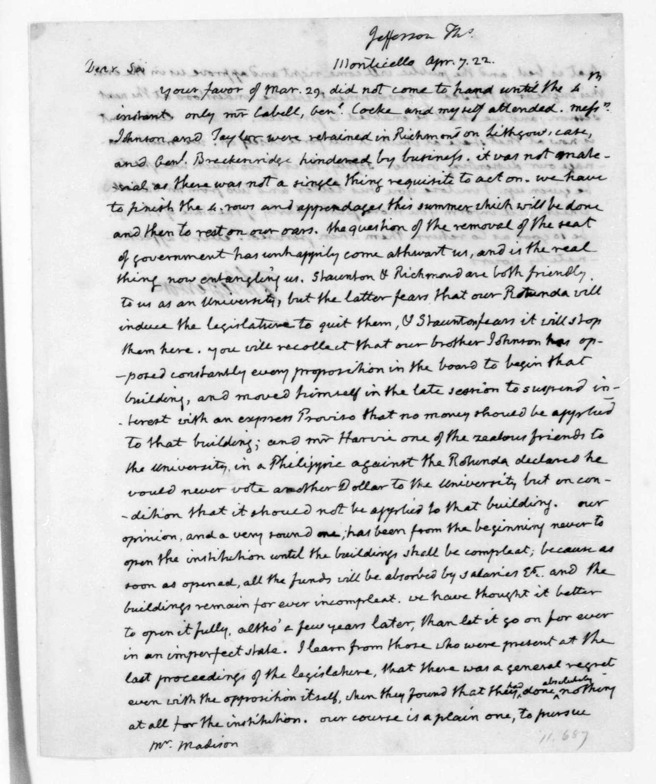 Thomas Jefferson to James Madison, April 7, 1822.