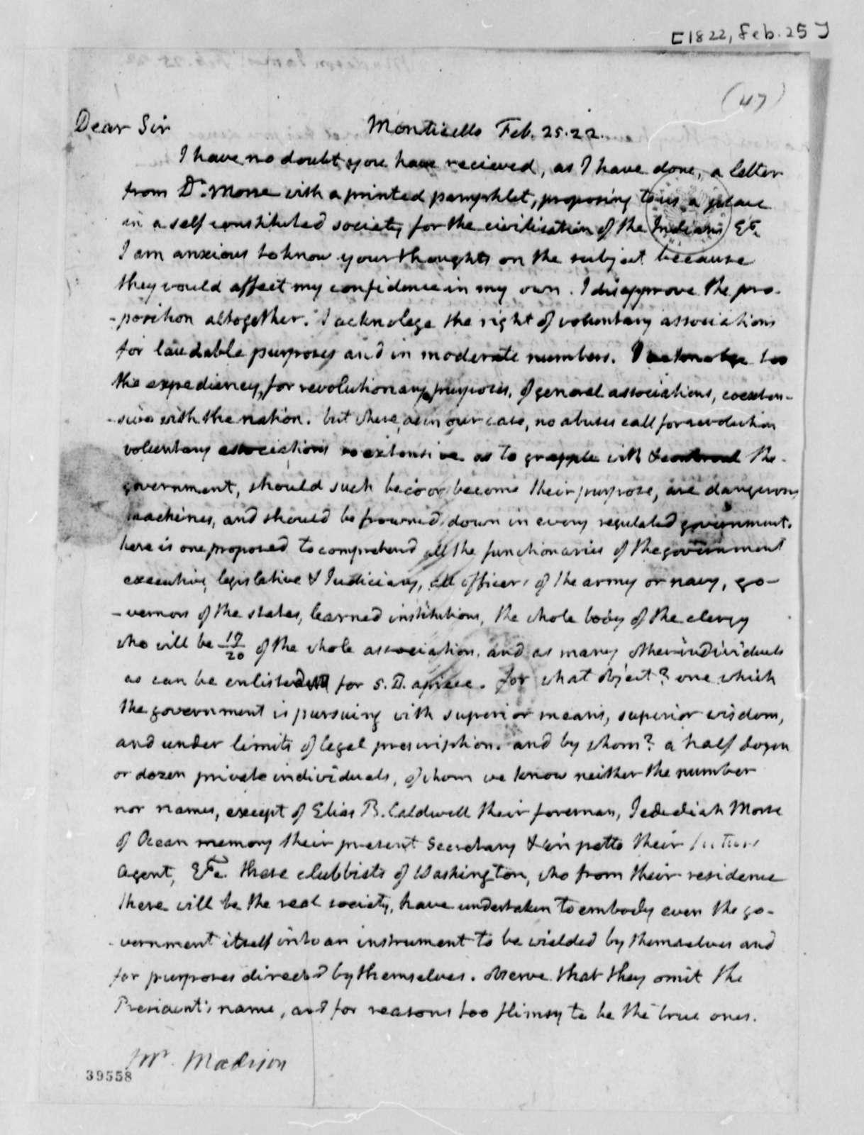 Thomas Jefferson to James Madison, February 25, 1822