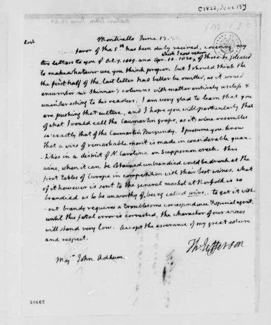 Thomas Jefferson to John Adlum, June 13, 1822