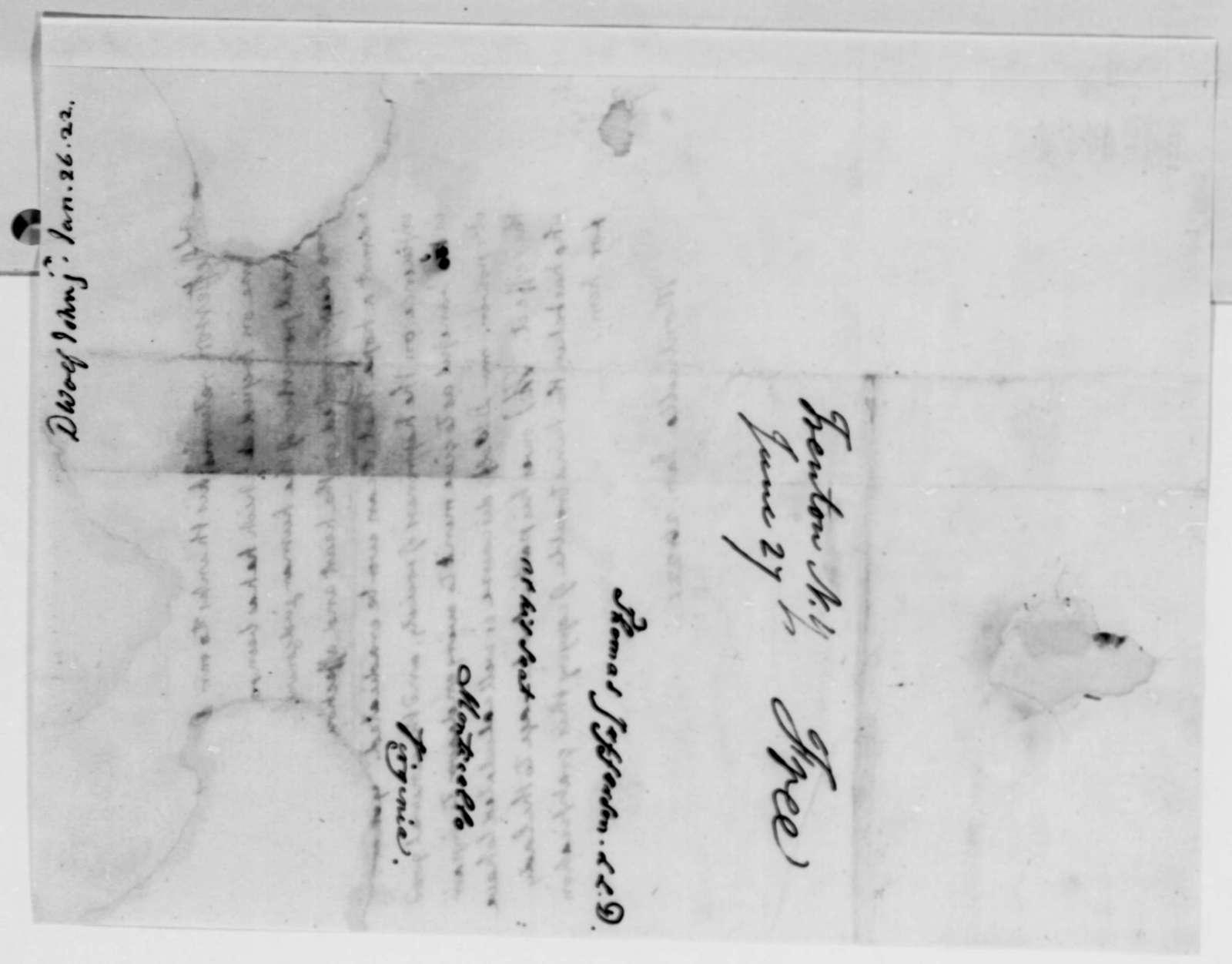 Thomas Jefferson to John D. Wolfe, Jr., January 26, 1822