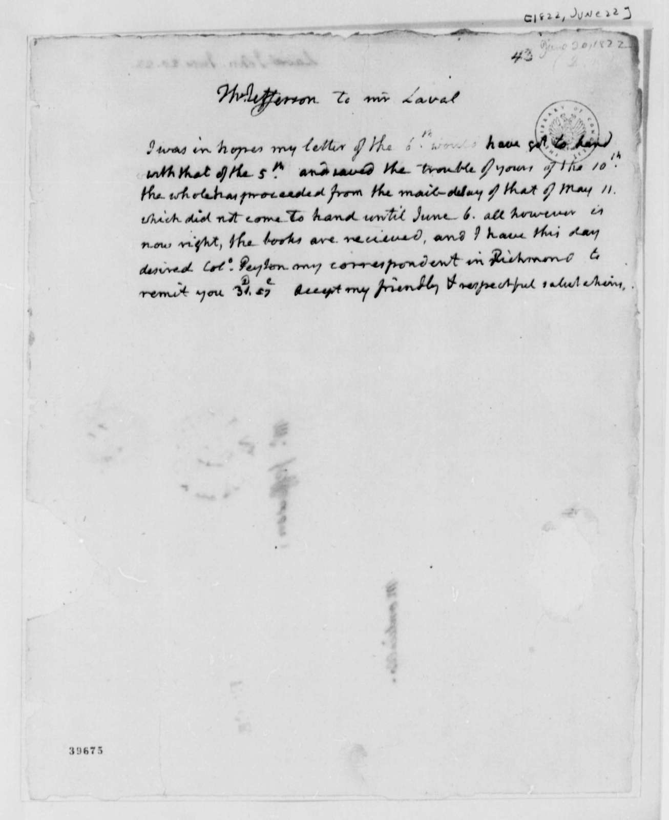 Thomas Jefferson to John Laval, June 22, 1822