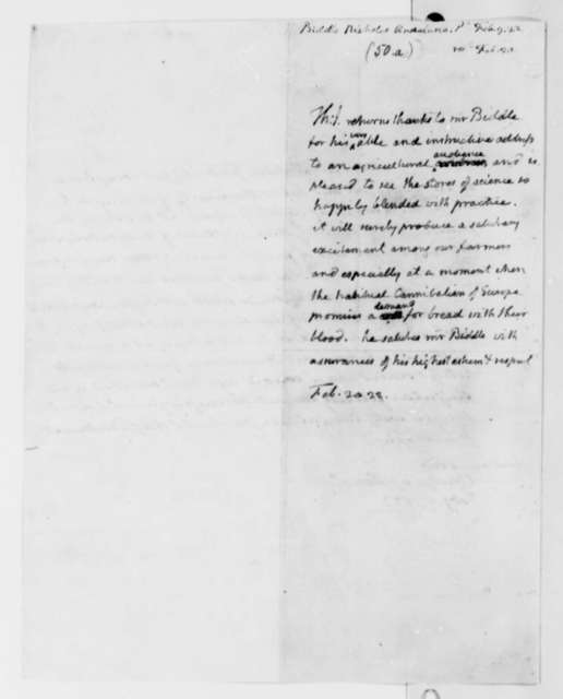 Thomas Jefferson to Nicholas Biddle, February 20, 1822