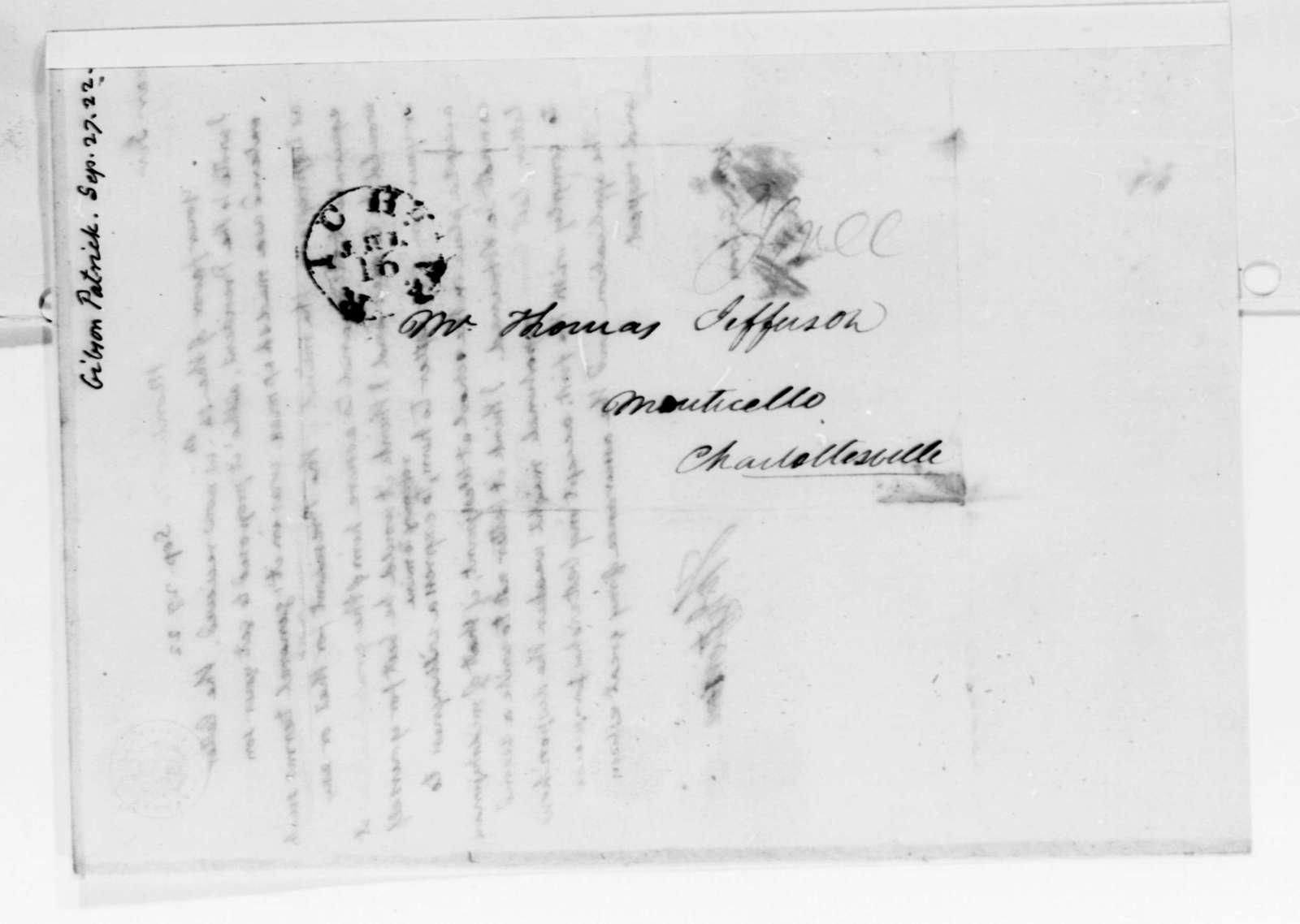 Thomas Jefferson to Patrick Gibson, September 27, 1822