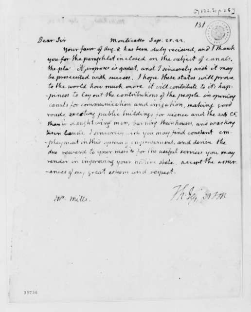 Thomas Jefferson to Robert Mills, September 25, 1822