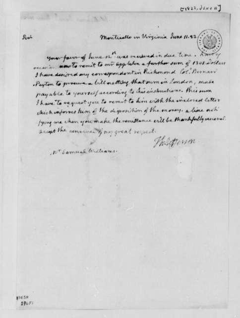 Thomas Jefferson to Samuel Williams, June 11, 1822