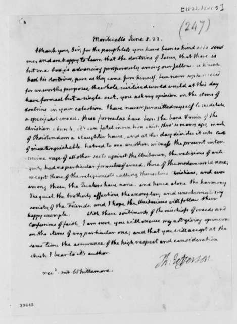 Thomas Jefferson to Thomas Whittemore, June 5, 1822