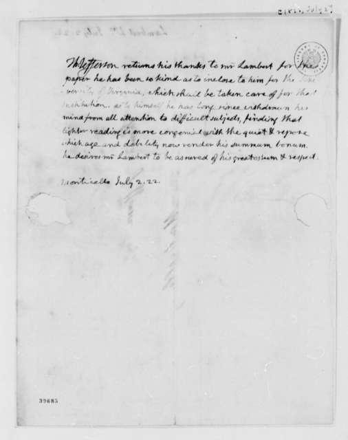 Thomas Jefferson to William Lambert, July 2, 1822
