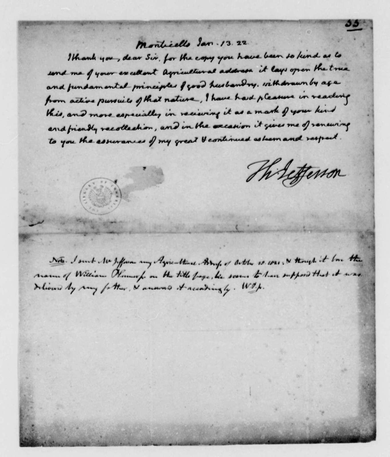 Thomas Jefferson to William Plumer, Jr., January 13, 1822