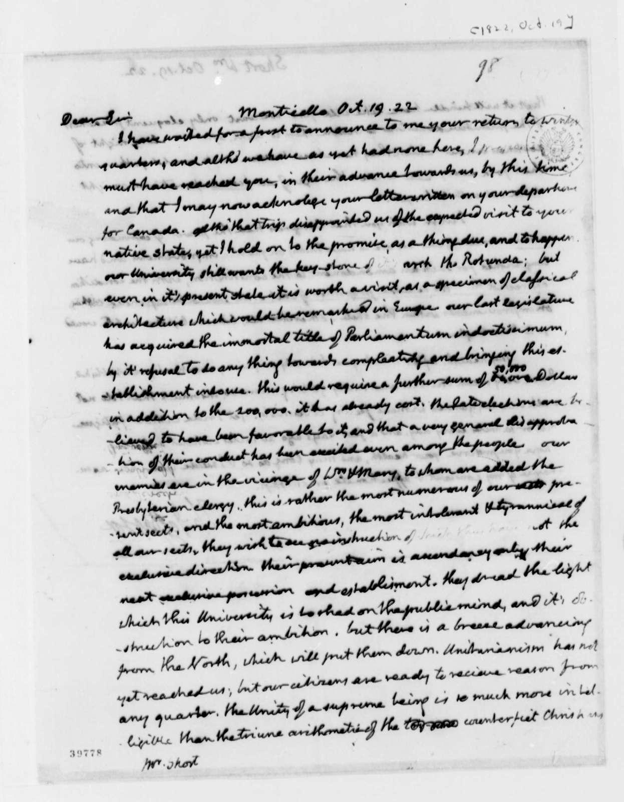 Thomas Jefferson to William Short, October 19, 1822