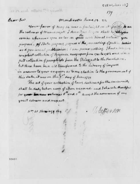 Thomas Jefferson to William Waller Hening, June 13, 1822