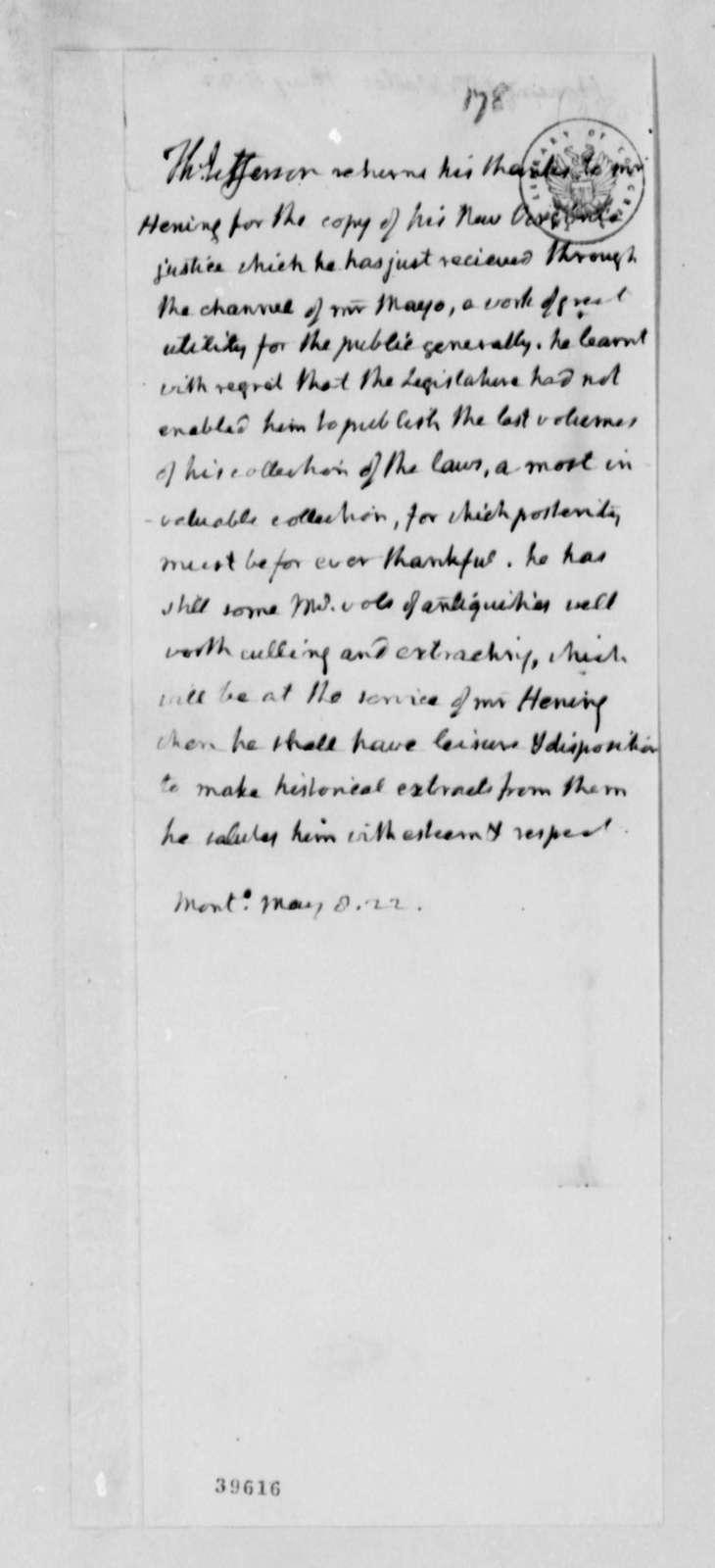 Thomas Jefferson to William Waller Hening, May 8, 1822