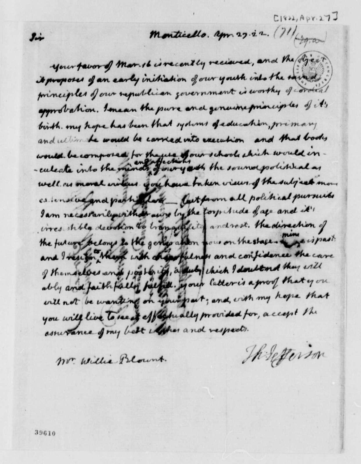 Thomas Jefferson to Willie Blount, April 27, 1822