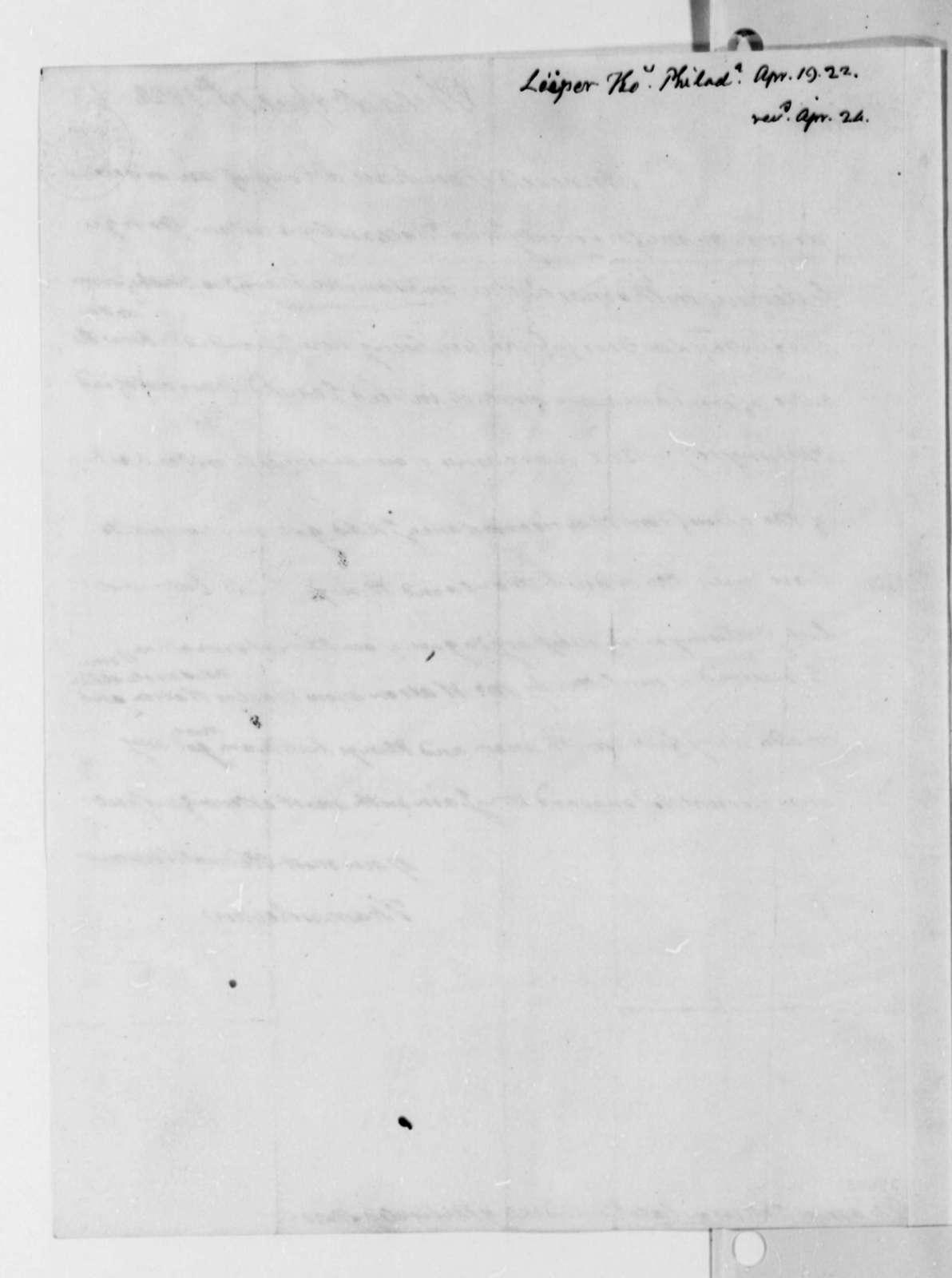Thomas Leiper to Thomas Jefferson, April 19, 1822