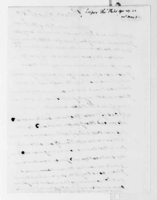 Thomas Leiper to Thomas Jefferson, April 29, 1822