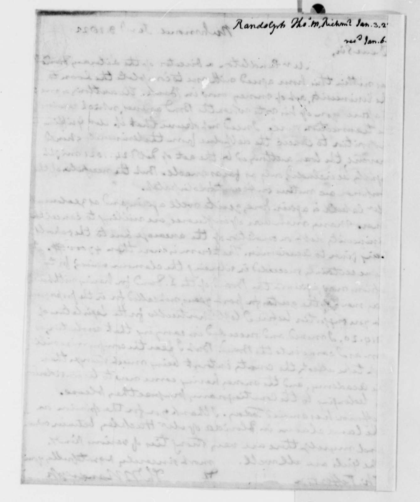 Thomas Mann Randolph, Jr. to Thomas Jefferson, January 3, 1822