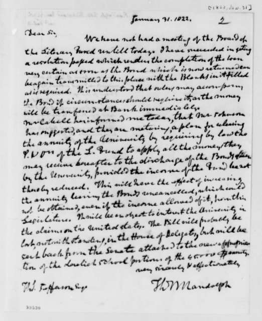 Thomas Mann Randolph, Jr. to Thomas Jefferson, January 31, 1822