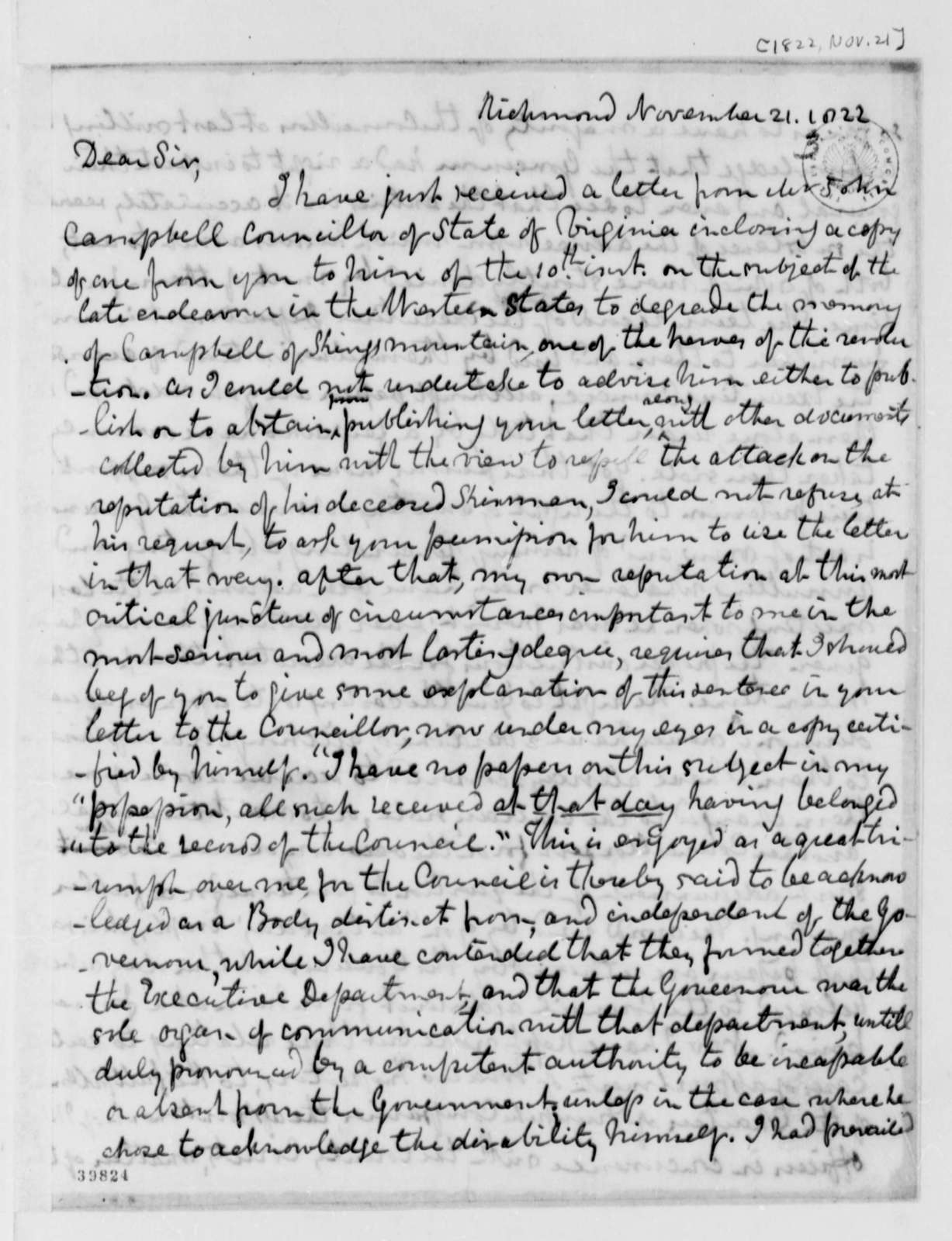 Thomas Mann Randolph, Jr. to Thomas Jefferson, November 21, 1822