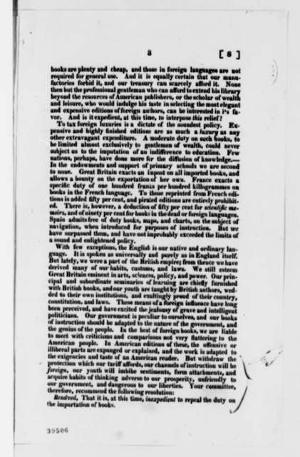 Trustees of Transylvania University to Senate, January 8, 1822, Printed Report on Book Imports Duty